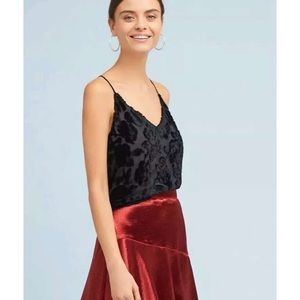• Anthropologie Maeve Black Floral Velvet Cami Top